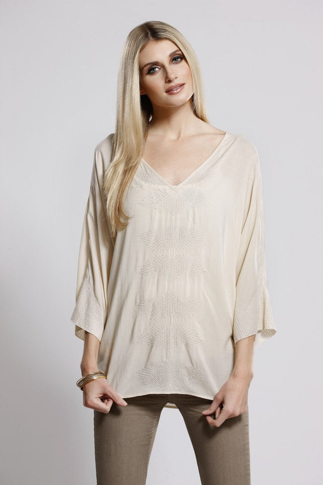 Embroidered Tunic Beige, Dolce Cabo