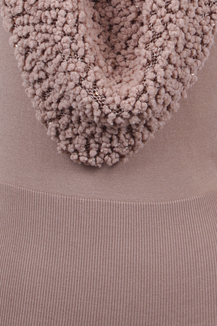 Sequin Cowl Neck Knit Sweater