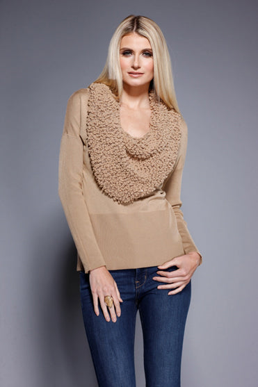 Sequin Cowl Neck Sweater Golden, Dolce Cabo