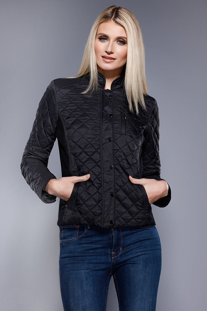 Quilted Satin + Knit Jacket, Black, Dolce Cabo