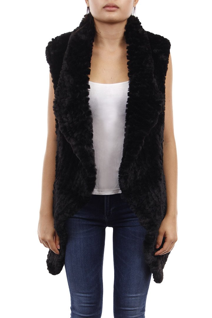 Faux Fur Rex Vest Black