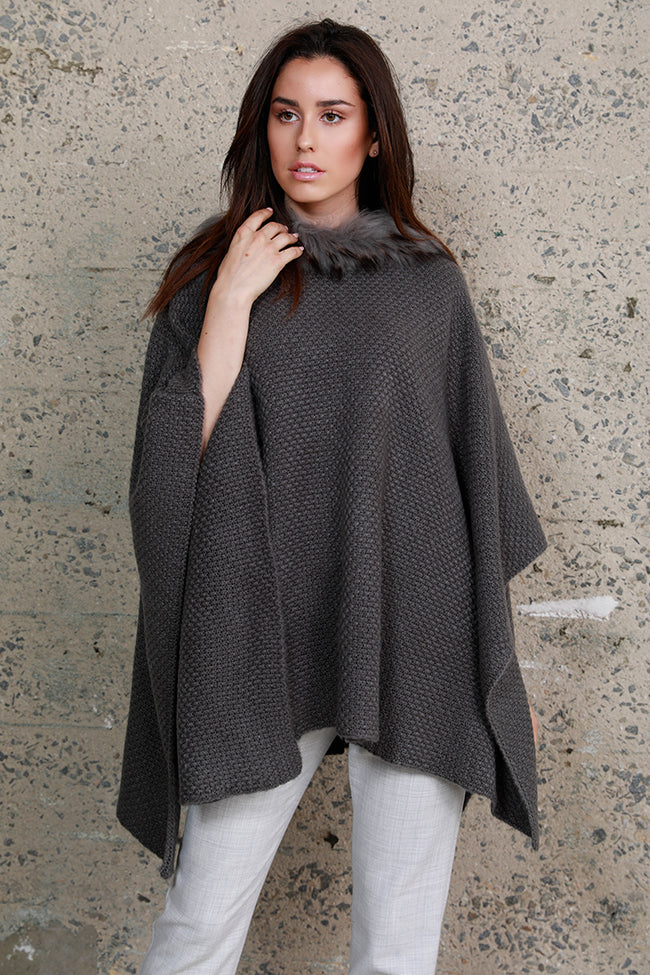 Fur Trim Knit Poncho, Grey, Dolce Cabo