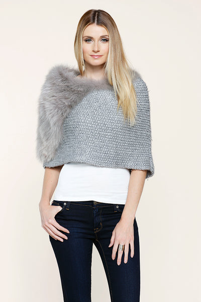 Real Fox Fur Knit Caplet Grey, Dolce Cabo