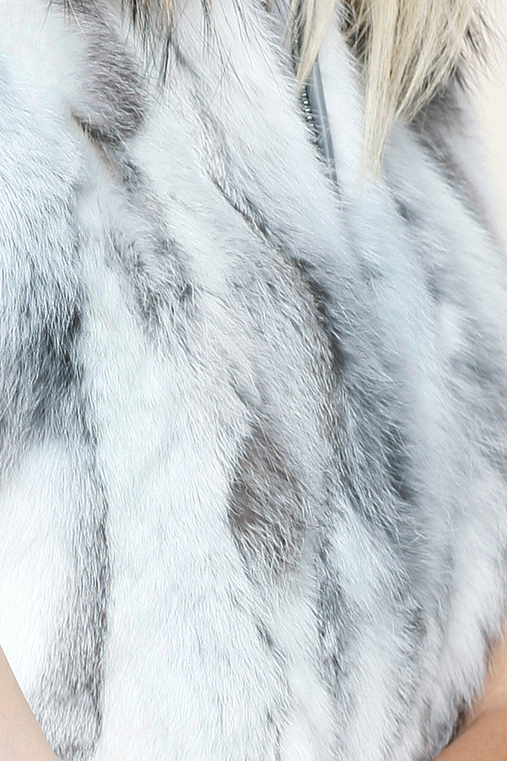 Real Fur Vest Hoodie, Rabbit Fur, Raccoon Fur, Dolce Cabo