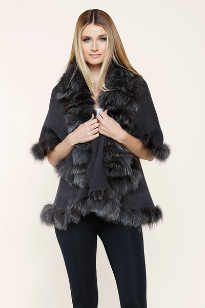 Real Fur Fox Trim Cardi, Dolce Cabo