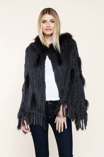 Lux Fur Poncho, Grey, Rabbit Fur, Fox Fur, Raccoon Fur, Dolce Cabo