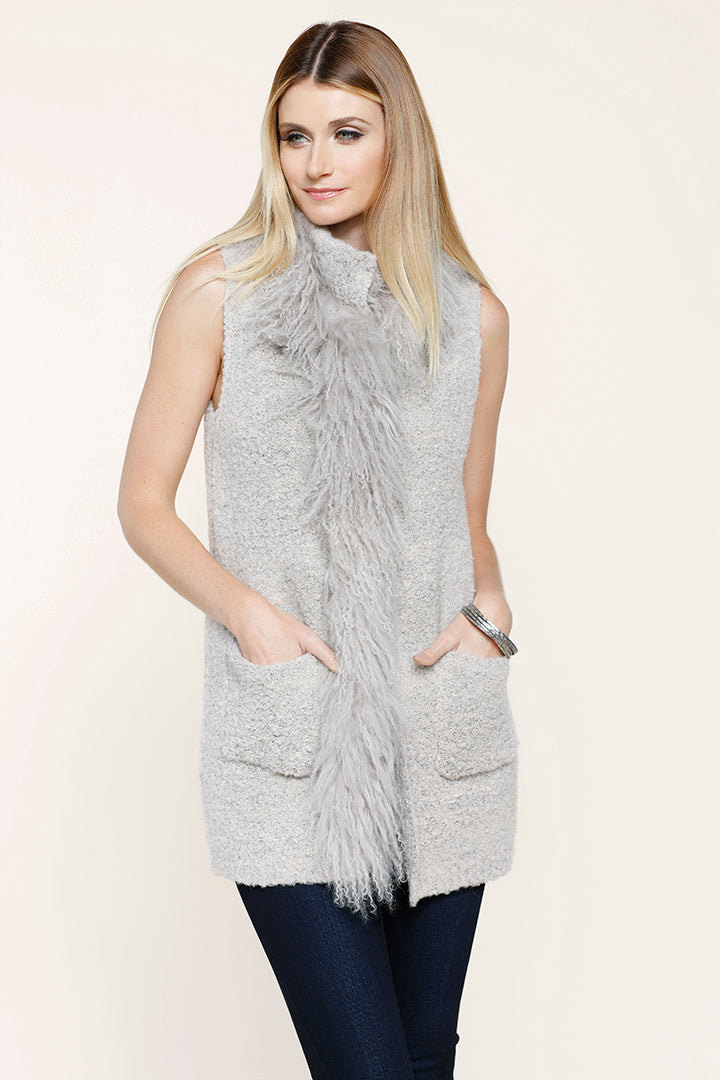 Knitted Mongolian Fur Vest, Beige, Real Fur, Dolce Cabo