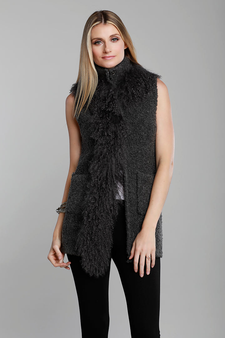 Knitted Mongolian Fur Vest, Grey, Real Fur, Dolce Cabo