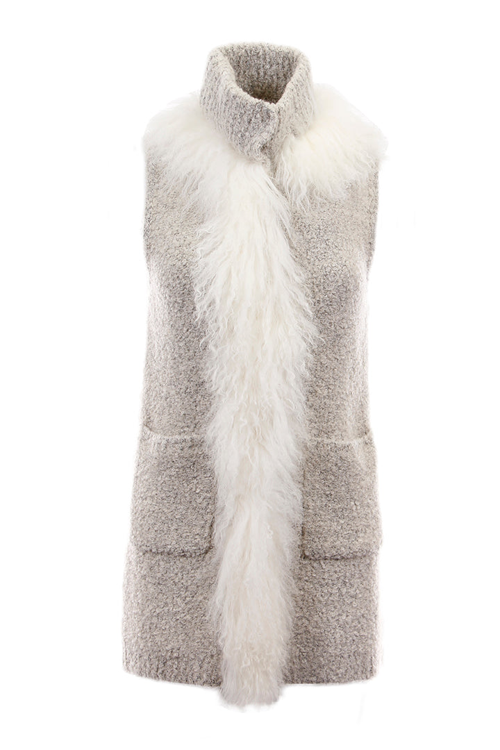 Knitted Mongolian Fur Vest Cream, Dolce Cabo