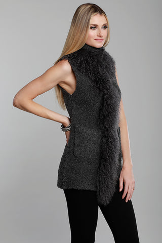 Knit Poncho with Fur Trim