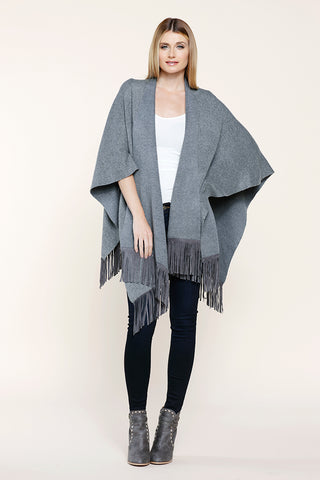 Cropped Engineered Knit Poncho
