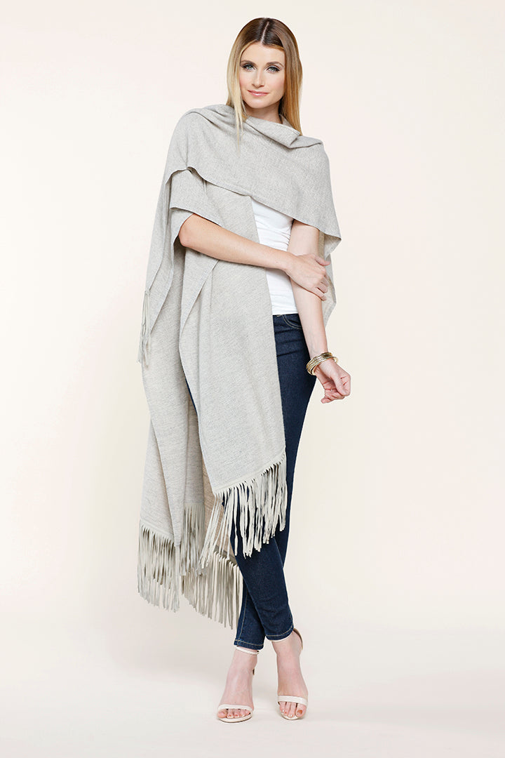 Wool Fringe Scarf, Faux Suede Fringe, Woven, Beige, Dolce Cabo