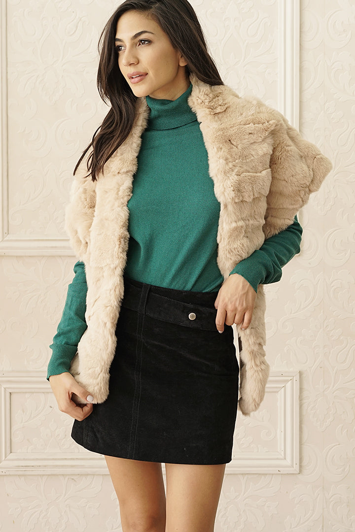 Rabbit Fur Stole, Wrap, Scarf, Dolce Cabo, Champagne