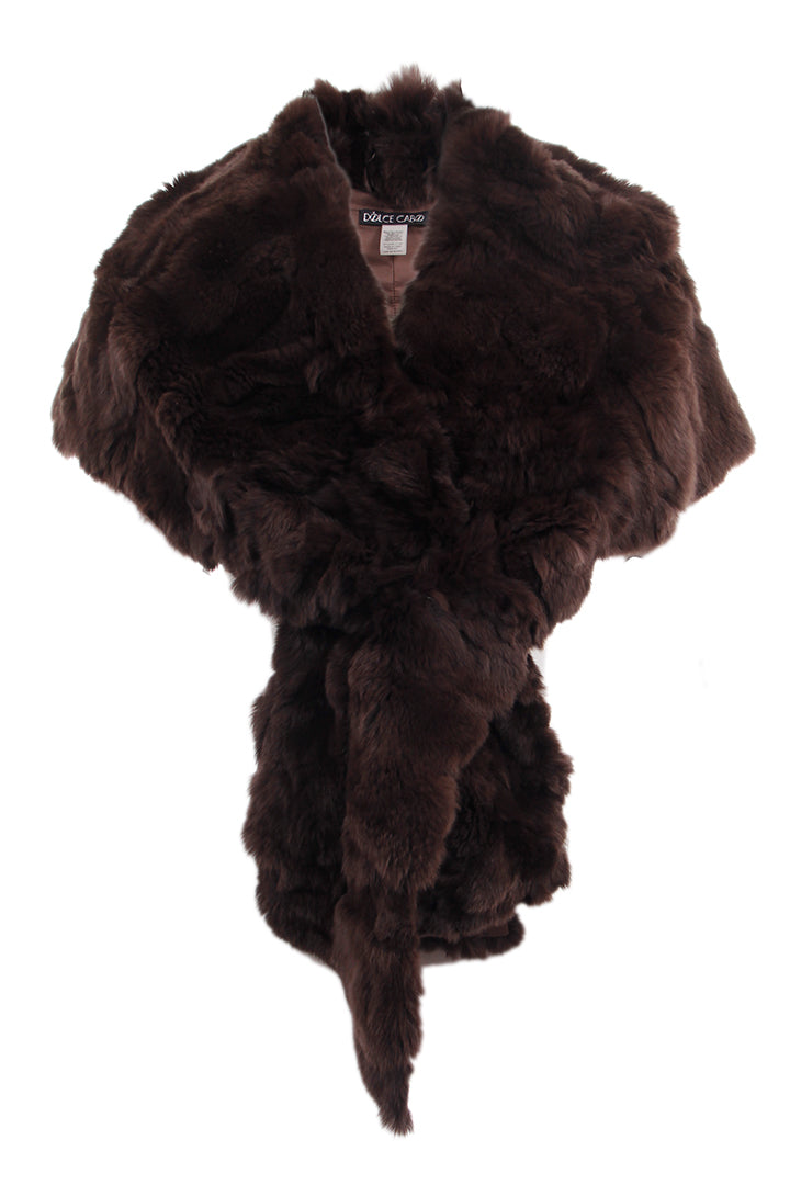 Rabbit Fur Stole, Wrap, Scarf, Dolce Cabo, Brown