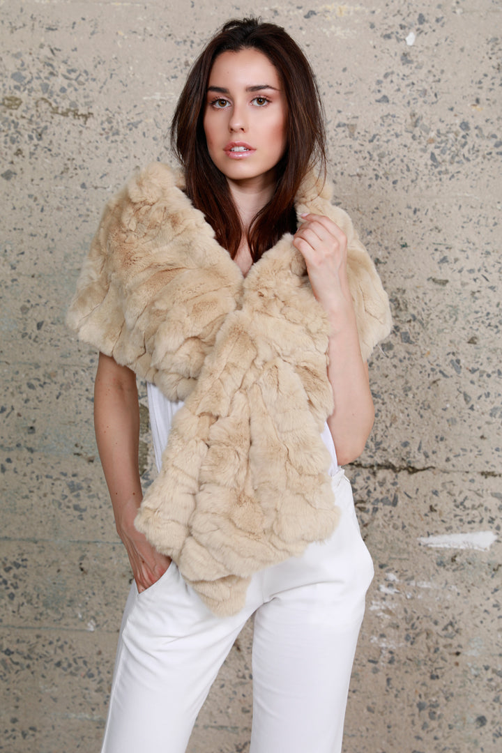 Rabbit Fur Stole, Nude, Dolce Cabo