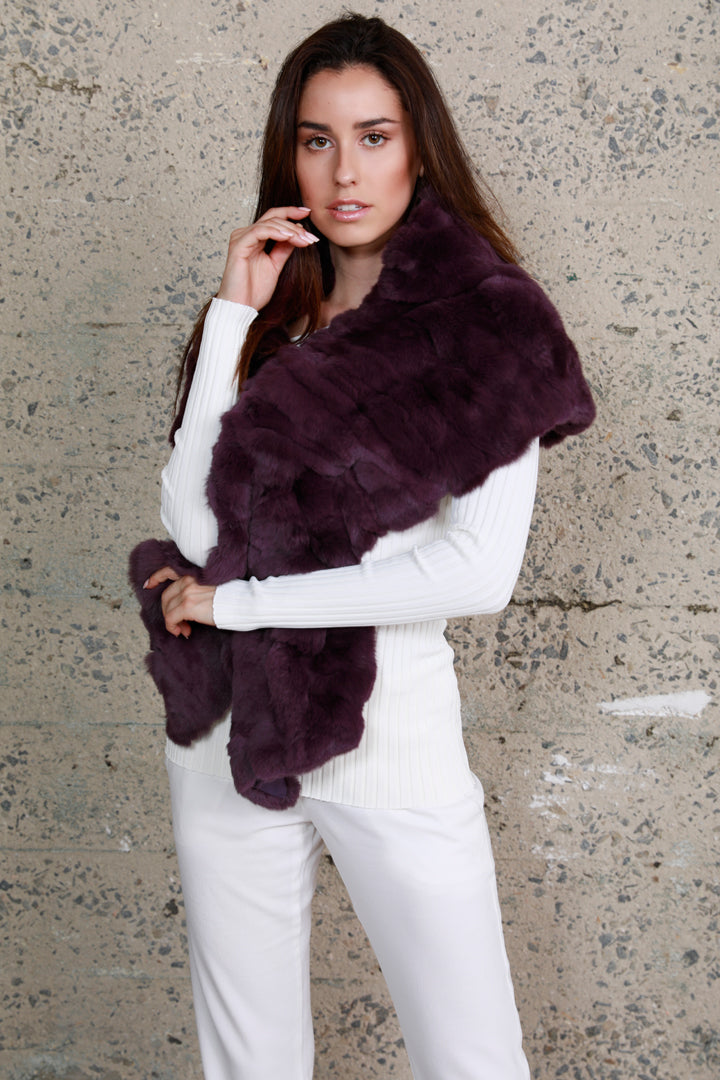 Rabbit Fur Stole, Purple, Dolce Cabo