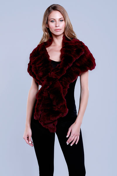 Rabbit Fur Stole, Wrap, Scarf, Dolce Cabo, Maroon