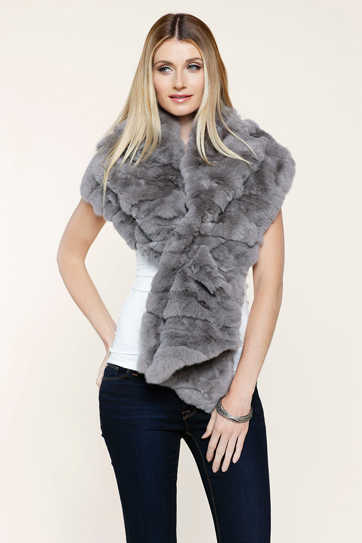 Rabbit Fur Stole, Wrap, Scarf, Dolce Cabo, Grey