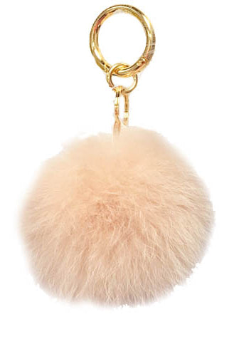 Fox Fur Keychain, Real Fur, Pom Pom, Black, Dolce Cabo, Blush