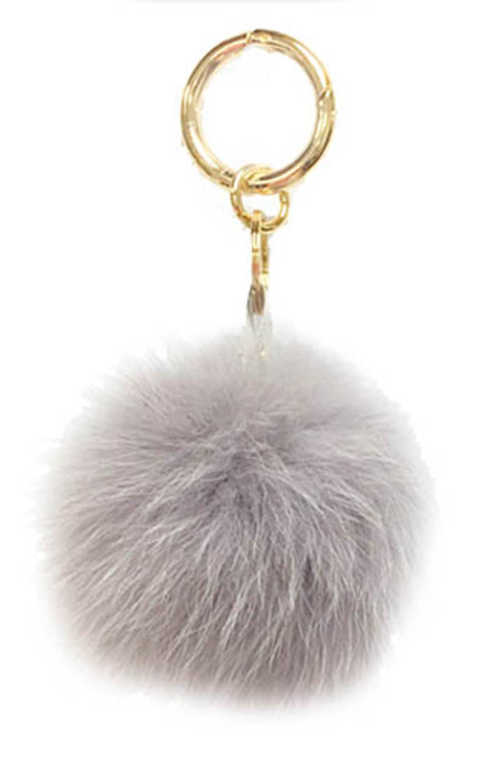 Fox Fur Keychain, Real Fur, Pom Pom, Black, Dolce Cabo, Mystic Grey