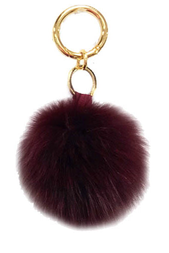 Fox Fur Keychain, Real Fur, Pom Pom, Black, Dolce Cabo, Wine