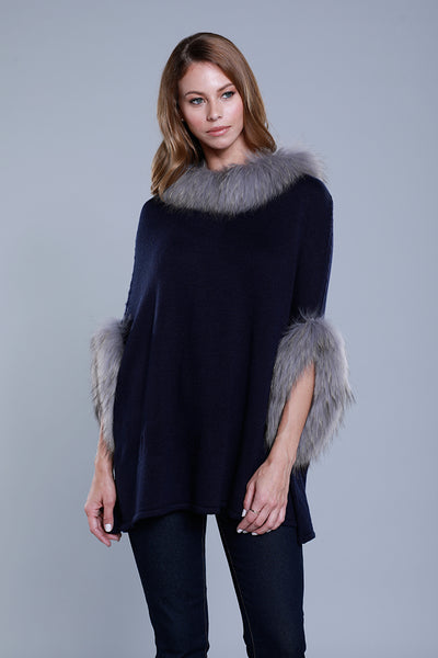 Knit Poncho with Fur Trim, Dolce Cabo, Navy, Raccoon Fur