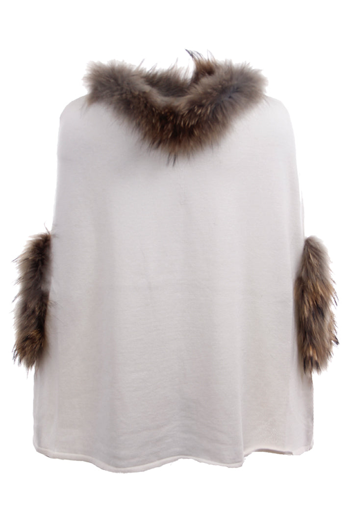 Knit Poncho with Fur Trim, Dolce Cabo, Ivory, Raccoon Fur