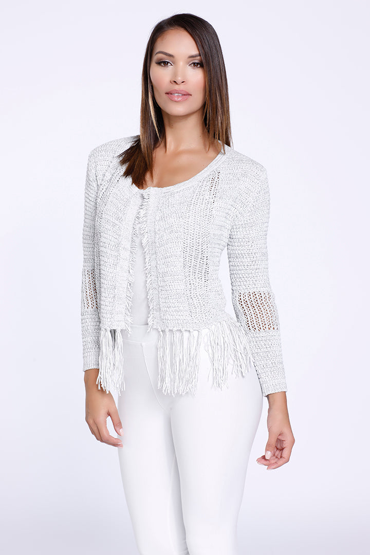 Fringe Knit Cardigan, White Pepper, Knit, Dolce Cabo