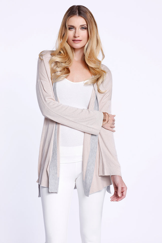 Two Toned Cardigan Almond Dolce Cabo