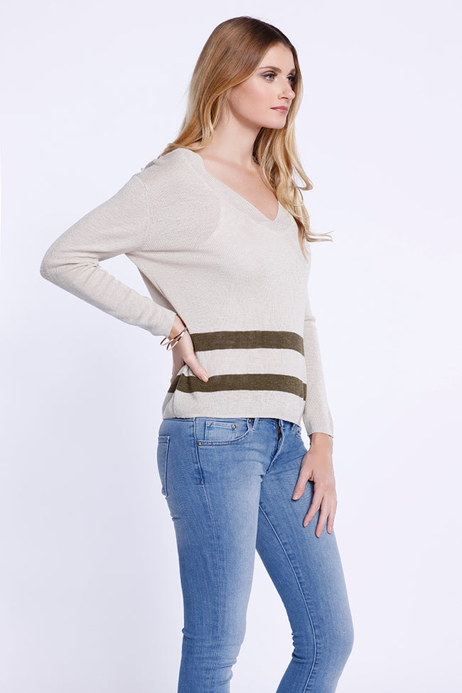 Double Stripe V-Neck Long Sleeve, Knit Top, Beige/ Army Green, Dolce Cabo