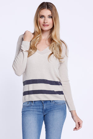 Double Stripe V-Neck Long Sleeve, Knit Top, Beige/ Blue, Dolce Cabo