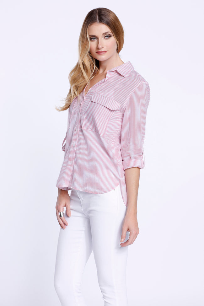 Striped Button Down Shirt, Blush Pink, Dolce Cabo