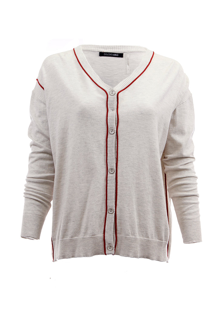 Silk + Cotton Blend Cardigan, Dolce Cabo, Heather Grey/Red