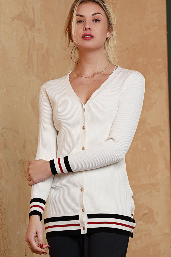 Button Down Cardigan Ivory, Dolce Cabo