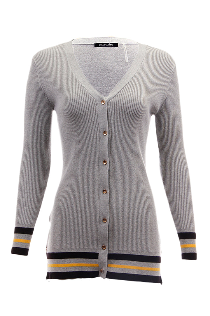 Button Down Cardigan, Heather Grey, Dolce Cabo