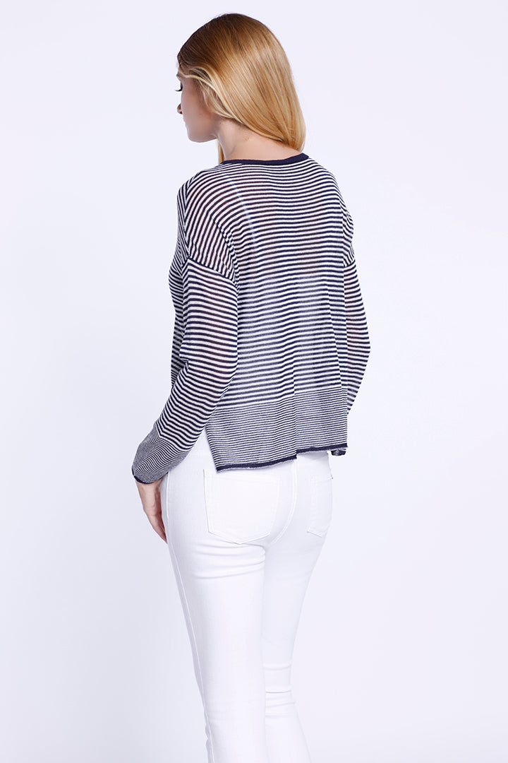 Navy Stripe Top with side vent slits, Navy, Dolce Cabo
