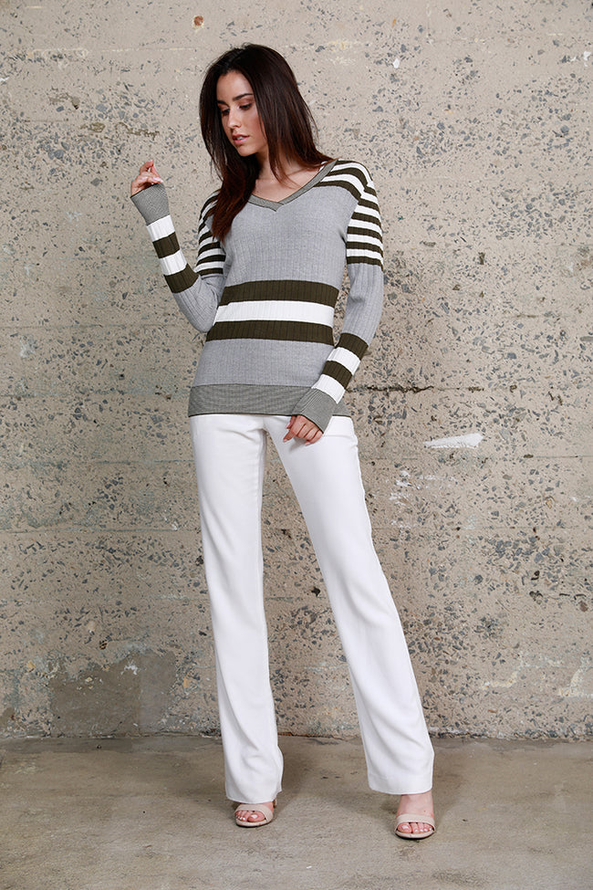 Striped Long Sleeve Knit Top, Grey Olive Multi Grey White, Dolce Cabo