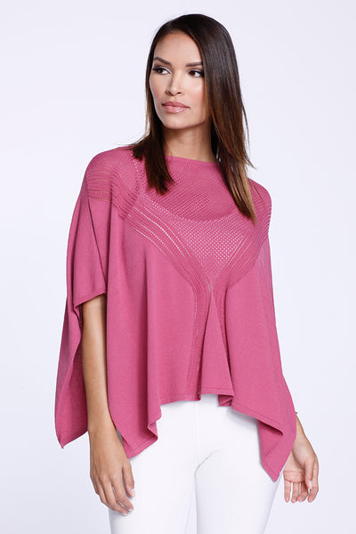 Cropped Poncho Knit Raspberry