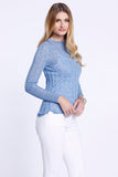 Long Sleeve Crew Neck Top, Knitted, Cool Blue, Dolce Cabo