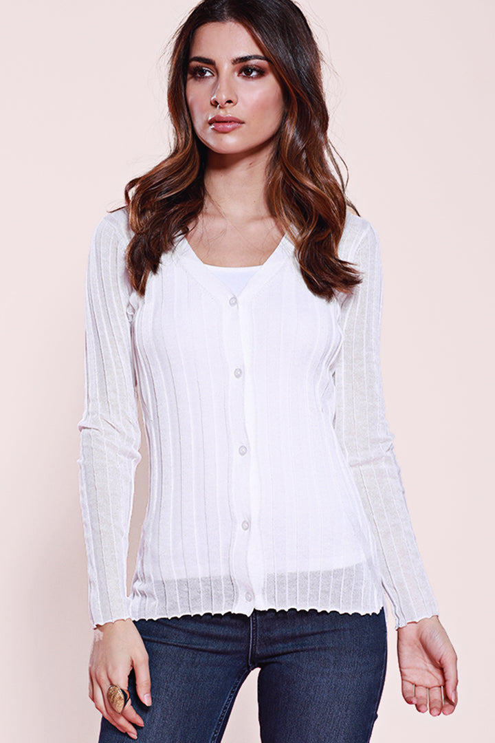 Long Sleeve Button Down Cardigan, Knit, Dolce Cabo, White, Ribbed