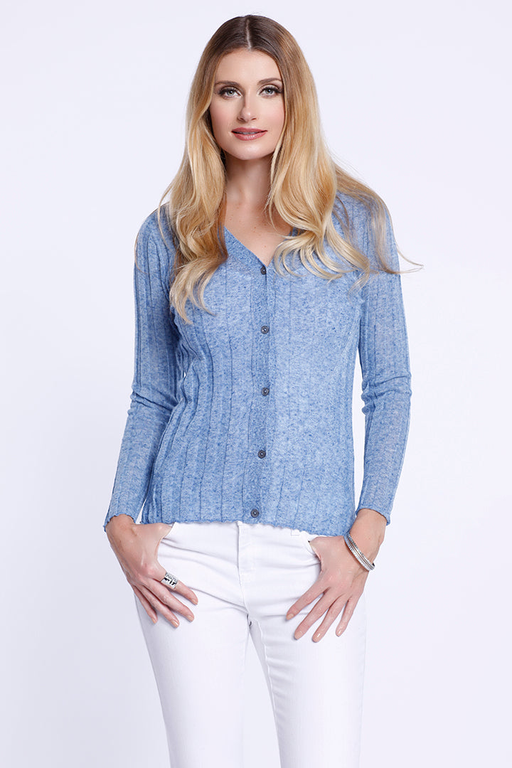 Long Sleeve Button Down Cardigan, Knit, Cool Blue, Dolce Cabo