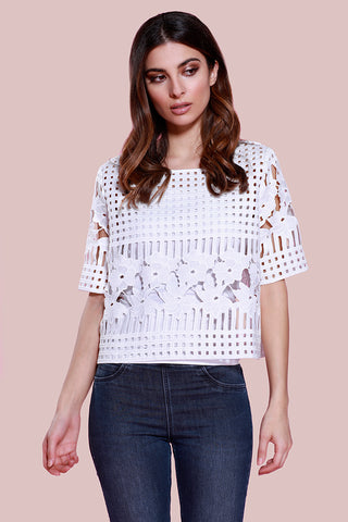 Cotton Poplin Eyelet Blouse