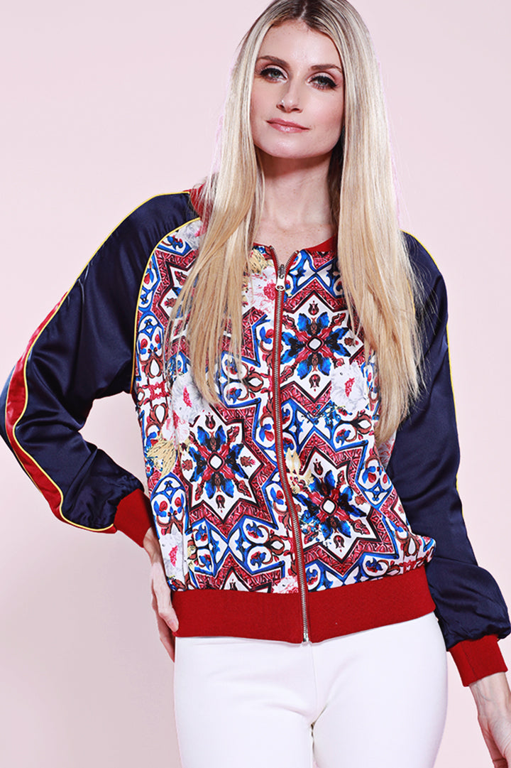 Reversible Print Bomber Jacket, Red/Navy, Dolce Cabo