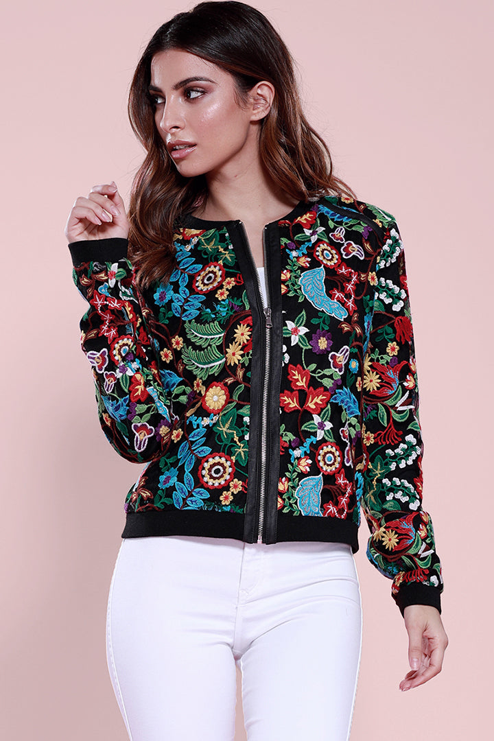 Frida Embroidered Bomber Multi Color, Dolce Cabo