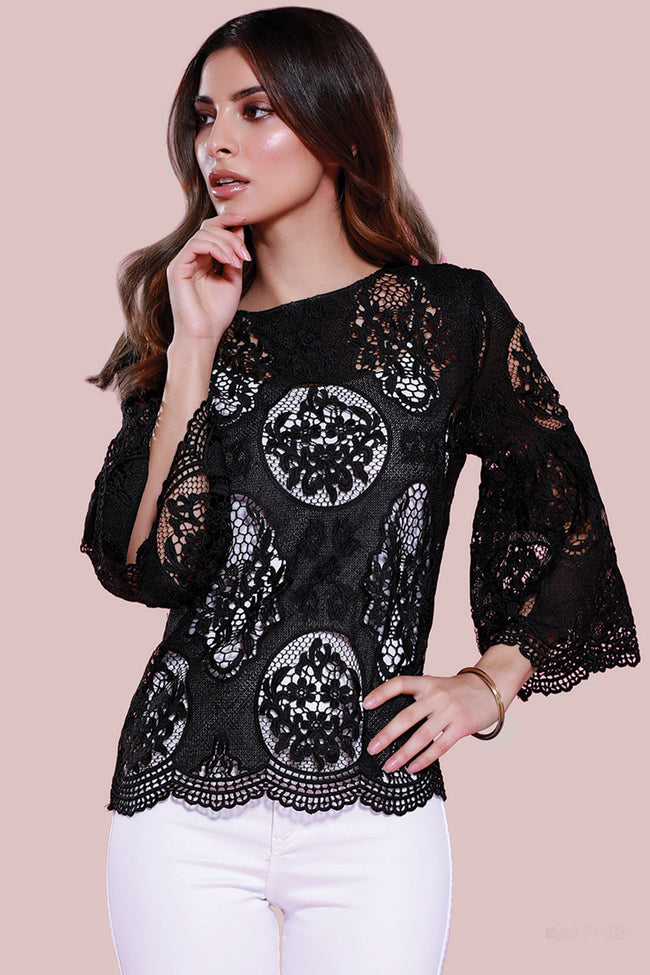 Bell Sleeve Lace Blouse Black, dolce cabo