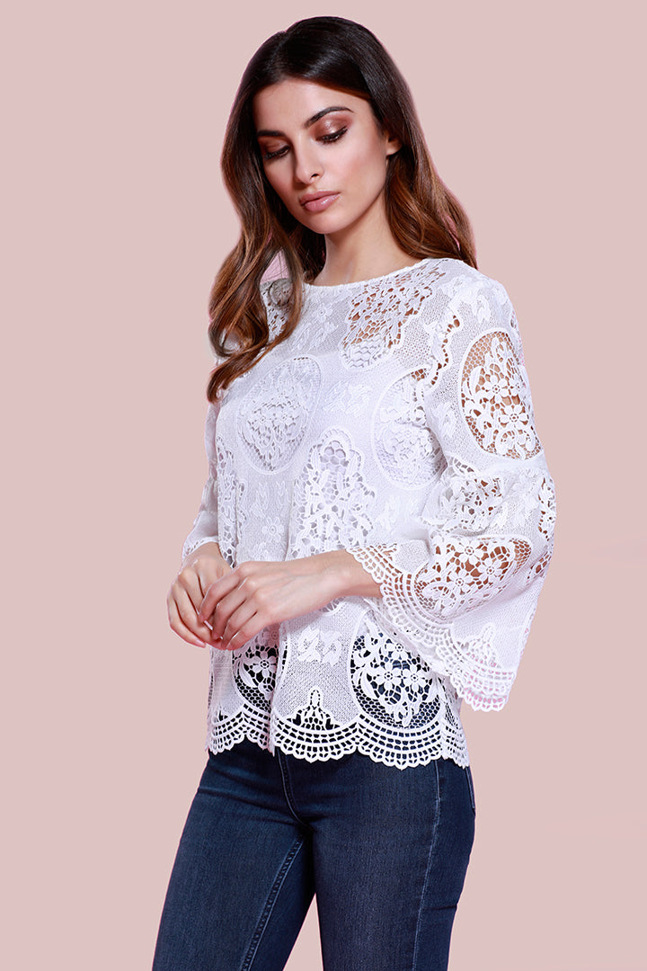Bell Sleeve Lace Blouse White, dolce cabo