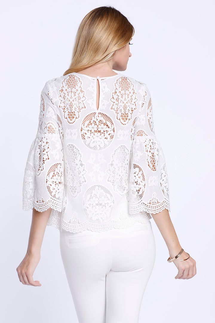 Bell Sleeve Lace Blouse, White, Dolce Cabo