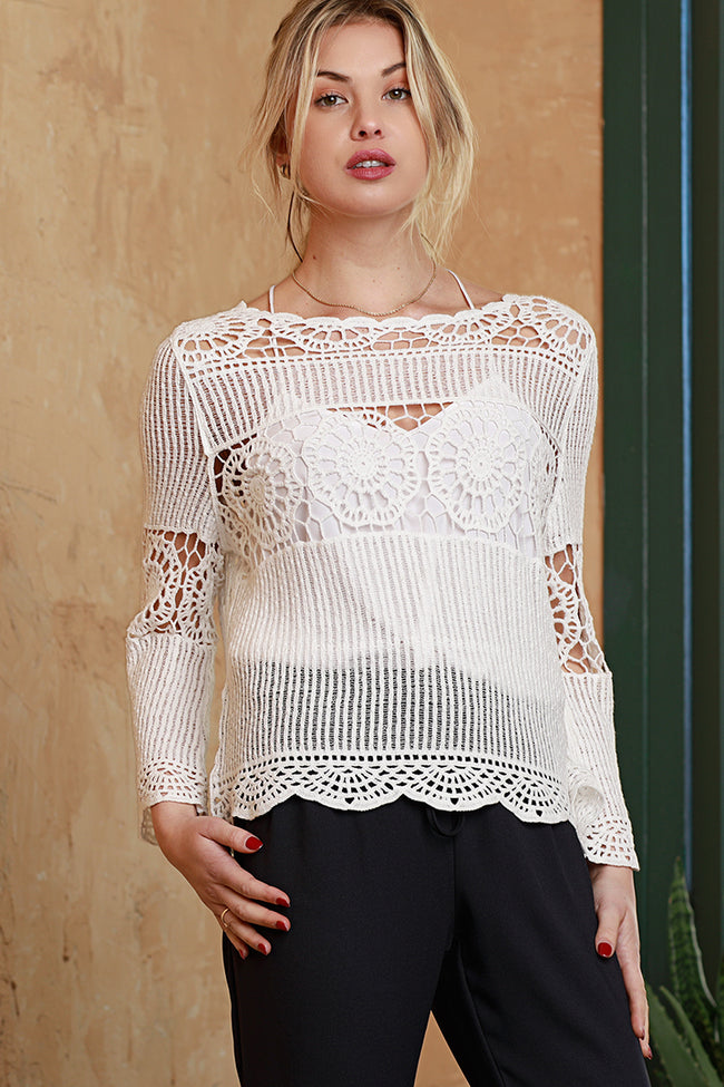 Lace Crochet Blouse Top, White, Dolce Cabo