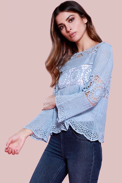 Lace Crochet Blouse Top, Blue, Dolce Cabo