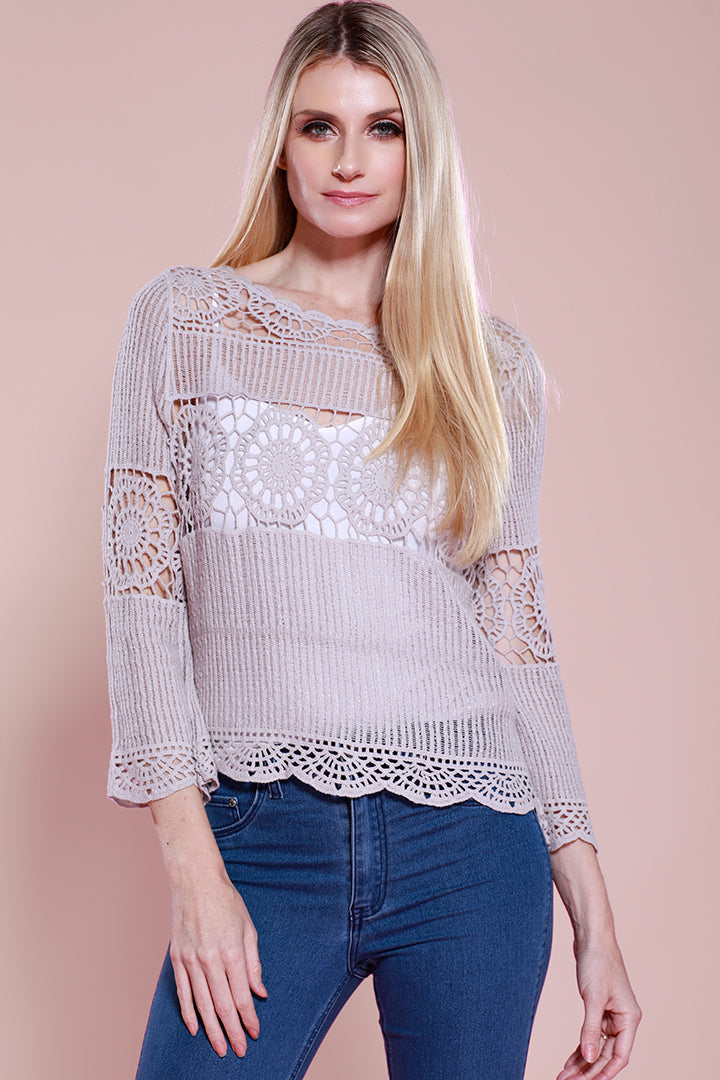 Lace Crochet Blouse Top, Mauve, Dolce Cabo